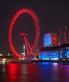 London Eye at night stock photos