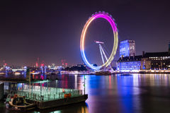 London Eye by night. LONDON - 04 OCT 2015: London Eye by night royalty free stock image