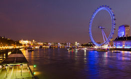 London Eye night scene Stock Photography