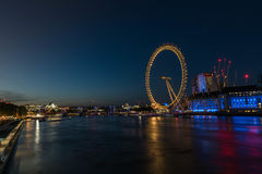 London Eye night scene stock images