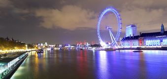 London Eye. Night shot of London Eye - London England Stock Photo