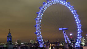 London eye at night timelapse stock video