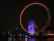 London Eye at Night. Night view from across the Thames of the London Eye, London, England UK Royalty Free Stock Photography
