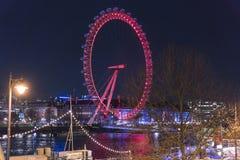 London Eye at night - view from Golden Jubilee Bridge - London England  UK Stock Photos