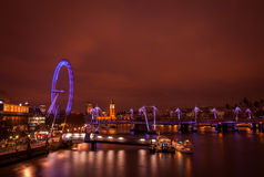 London Eye at nighttime Stock Photography