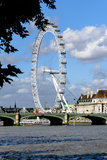 London Eye. Panorama of the famous Ferris Wheel in London. View of the the Thames River and a very blue sky Stock Photography