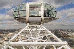 London Eye passenger pod viewed at altitude. With city skyline in background Royalty Free Stock Photos