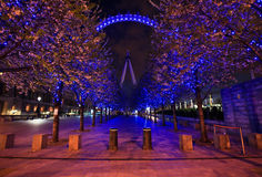 London Eye and purple alley Royalty Free Stock Images