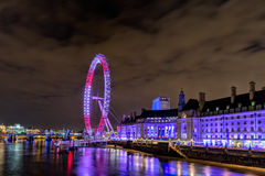 London Eye purple. London eye lighted with purple and pink colors Royalty Free Stock Photography