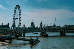 London Eye and the River Thames stock image