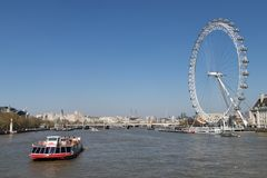 London Eye and the River Thames Royalty Free Stock Image