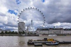 London eye and river Thames Royalty Free Stock Photos