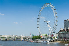 The London Eye by The River Thames Royalty Free Stock Images