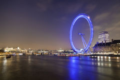 London Eye and River Thames at night Stock Photography