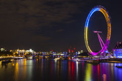 London Eye and the River Thames Royalty Free Stock Photo