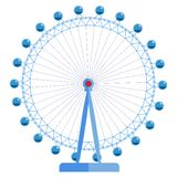 London Eye - ruota di ferris enorme, una delle viste della Gran Bretagna royalty illustrazione gratis