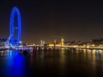 London Eye And Skyline At Night. London Eye and London sykline taken from Embankment Bridge Stock Image