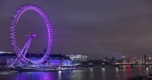 London Eye with a striking dynamic display,custom-designed for Lumiere London 2018,called Eye Love London.Time lapse video,4k,4096 stock footage