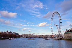 London eye on a sunny day Royalty Free Stock Photos