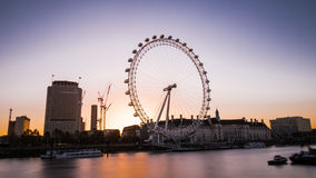 London Eye at sunrise in London Royalty Free Stock Images