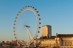 The London Eye, sunrise, Stock Photography