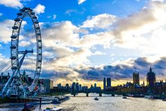 London eye sunset. Amazing view from river London Royalty Free Stock Photos