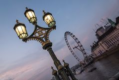 London Eye in sunset on a nice summer day royalty free stock image
