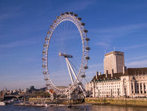 The London Eye. Taken from Westminster Bridge, London on a sunny day Stock Photography