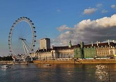 The london eye and Thames river Royalty Free Stock Images