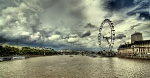London eye and Thames river in London Royalty Free Stock Photos