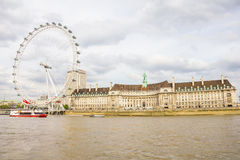 The London Eye and the Thames river in London Royalty Free Stock Photography