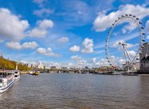 London eye and Thames river on a sunny day, UK royalty free stock image