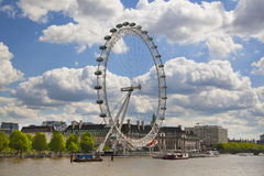 London eye on Thames river Stock Images