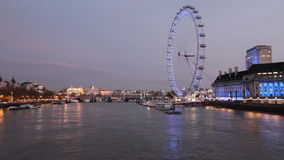 London Eye. And Thames in London, UK