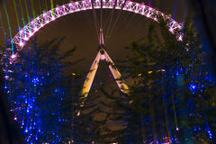 London Eye at twilight. With light trails and blue lighting decoration on trees. The structure is  135m tall and it's the tallest Ferris wheel in Europe Royalty Free Stock Photography