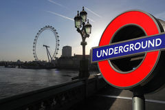London Eye with Underground symbol, London Stock Photos