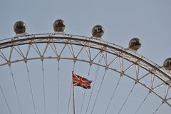 London Eye Union Jack flag Royalty Free Stock Image