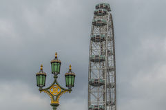 London Eye. On the very cloudy day Royalty Free Stock Photography