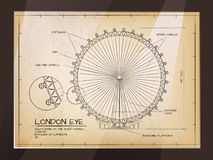 London Eye View. Architectural Old Technical Drawing of London Eye - Millennium Wheel Stock Images