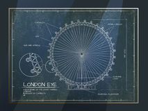 London Eye View. Architectural Old Technical Drawing of London Eye - Millennium Wheel Stock Photos
