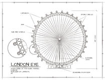 London Eye View. Architectural  Technical Drawing of London Eye Millennium Wheel Royalty Free Stock Image