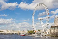 London eye. View from a boat on the Thames of the London Millenium Eye Stock Image