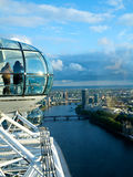London eye and view over London city. View the London Millennium Eye, travel and tourism Royalty Free Stock Photos