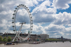 London Eye. View on London Eye and River Thames Royalty Free Stock Photo