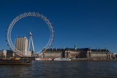 London Eye. View on London Eye and River Thames Royalty Free Stock Photography