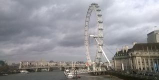 London Eye View. A view of the London Eye,in thames river in London,in a summer day of june Stock Photo