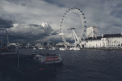 London Eye View From Westminster Bridge. Royalty Free Stock Images