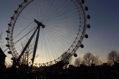 London Eye in Waterloo, London - February 15th of 2015: This is the third largest ferris wheel all around the world. This tourist attraction is 135 meters tall royalty free stock photography