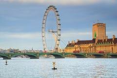 London Eye & Westminster bridge in London stock photo