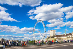 London eye from Westminster Bridge. Stock Photography